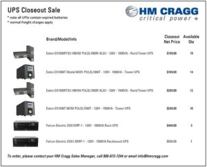 HM Cragg Offering Closeout Pricing on Select UPSs