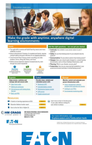 Eaton Backup Power for Remote Education Flyer